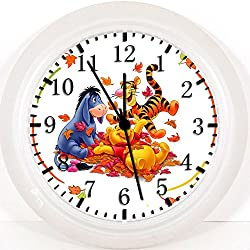 New Winnie the Pooh Wall Clock 10 Gifts Decor White Frame Z69