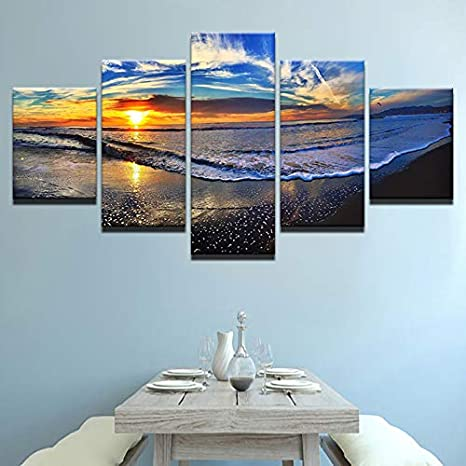 mmwin HD Print Canvas 5 Piezas Wall Art Poster Sea Wave ...