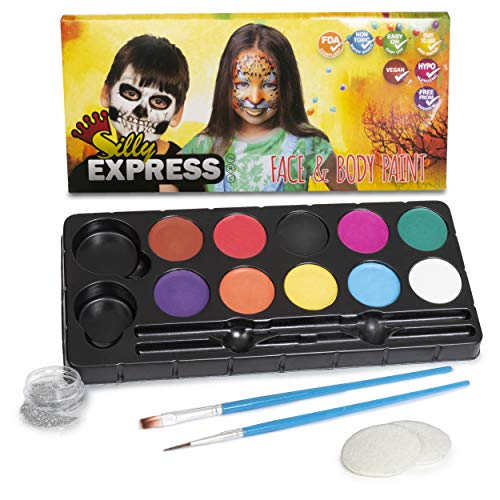 Silly Express Face Paint Kit for Kids | 10 Paints 2 Brushes 1 Glitter 2 Sponges | Professional Quality for Face & Body | Water-Based Non-Toxic Safe| Halloween Birthday Party Costume Makeup