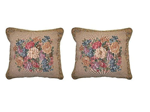 DaDa Bedding Throw Pillow Covers - Set of Two Breath of Spring Floral - Elegant Square Colorful Golden Decor - 2-Pieces - 18