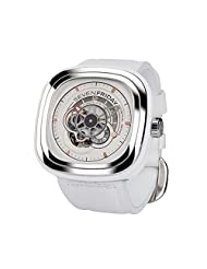 Seven Friday Men's P-Series 48mm White Leather Band Steel Case Automatic Analog Watch P1B-02