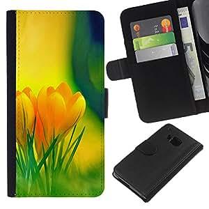 KLONGSHOP // Tirón de la caja Cartera de cuero con ranuras para tarjetas - Flores amarillas - HTC One M9 //