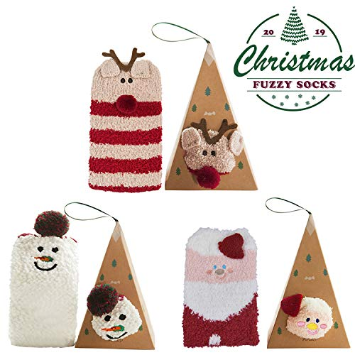 Aniwon Christmas Fuzzy Socks Xmas Cozy Slipper Socks Winter Warm Thick Home Socks with 3D Cute Pattern For Women Girls]()