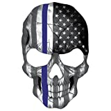 Blueline Skull Subdued Thin Blue Line American Flag Sticker. 6 x 4