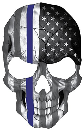 "Blueline Skull Subdued Thin Blue Line American Flag Sticker. 6 x 4"" inch Reflective Police Support Decal"