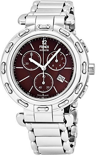 Fendi Selleria Mens Stainless Steel Swiss Chronograph Watch with Selleria Horse Logo on Back - Brown Face Analog Quartz Fashion Dress Watch for Men with Interchangeable Band F89032H-BR8653