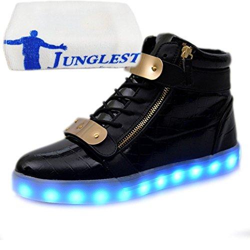 (Presente:pequeña toalla)JUNGLEST® 7 Colores USB Carga LED Luz Glow Luminosos Light Up Flashing Sneakers Zapatos Deportivos d Charol Alto-Top Negro