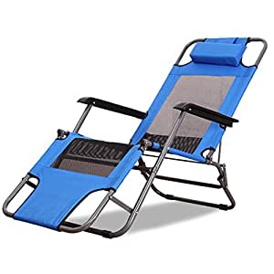 Amazon.com: Silla reclinable azul plegable para dormir en la ...