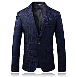 Men's One Button Printed Dress Blazer