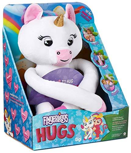 Gigi The Interactive White Unicorn Fingerling HUGS Monkey Plush with Sound and 40 Reactions ( Bonus Free Miniature FLIP Troll )
