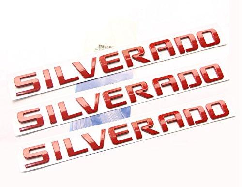 Yoaoo 3pcs OEM Red Silverado Nameplate Letter Alloy Emblems Badges Original Silverado Chevrolet Shiny Glossy New