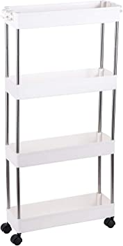 Slim Storage Cart 4 Tier Narrow Storage Rack Rolling Organizer Cart Mobile Shelving Unit for Narrow Spaces White