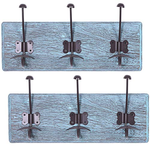 "Rustic Wall Mounted Coat Rack with 3 Sturdy Hooks – Set of 2 – Vintage Entryway Wooden Coat Racks – Rustic Rack for Coats, Bags, Towels and More – 35"" x 6.10""– Torched Wood- Rustic Blue ()"
