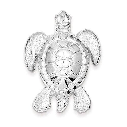 Silver Turtle Slide Pendant - Pendants Beach and Sea Life Charms .925 Sterling Silver Turtle Slide Charm Pendant