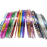 Tenworld 30Pcs Mixed Colors Rolls Striping Tape Line Nail Art Tips Decoration Sticker