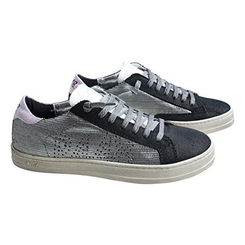 P448 Damen Schuhe Low Sneaker E8JOHN von Farbe Grau Schwarz Neue Kollektion Frühjahr Sommer Outdoor Made in Italy