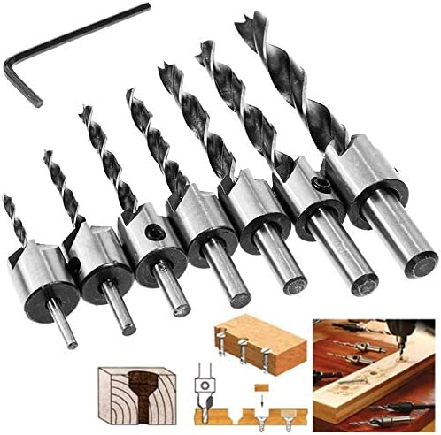 Nologo Flute Countersink Drills Bit HSS Drills Bit Reamer Set for Woodworking Chamfer 3-10mm Professional