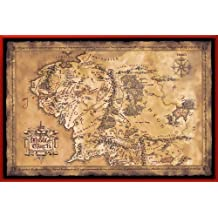 """The Hobbit / The Lord Of The Rings - Framed Music Poster / Print (Map Of Middle Earth - Limited Dark / Sepia Edition) (Size: 36"""" x 24"""")"""