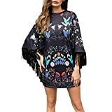 PLENTOP Promotion Maxi Skirts for Women,Skirts for Women Knee Length Elastic Waist,Womens Ladies Fashion O-Neck Print Tassels Daily Batwing Sleeve Party Dress