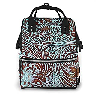 Toolin in Teal Brown Western Rustic Tooled Cowboy Diaper Bag Backpack Waterproof Multi-Function Baby Changing Bags Maternity Nappy Bags Durable Large Capacity for Mom Dad Travel Baby Care