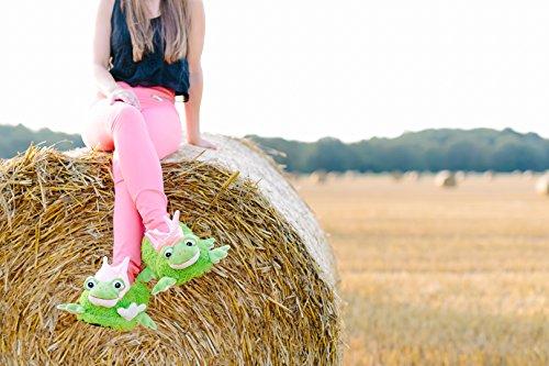 funslippers®, lustige Hausschuhe Tierhausschuhe Erwachsene und Kinder Frosch Prinzessin mit Krone rosa Plüsch Hausschuhe mit Gummisohle