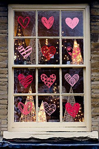 140PCS Valentines Day Window Clings Hearts Wall Decals Stickers Decorations Party Supplies For Home (4 Sheets)