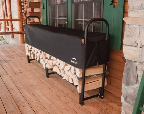 ShelterLogic Backyard Storage Series Covered Firewood Rack, Black, 8-Feet