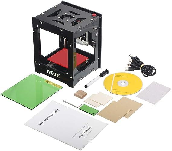 QWE Mini Máquina Grabadora Láser Miniatura Máquina De Marcado Láser Plotter, Doble Fuente De Alimentación USB/Un Mapa De Botón/Software Inteligente/Entrega De La Máquina A La Mano: Amazon.es: Hogar