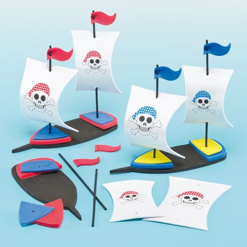 Make Your Own Pirate Ship Activity (3D Foam Pirate Ship Kits for Children to Make & Display - Pack of 2)