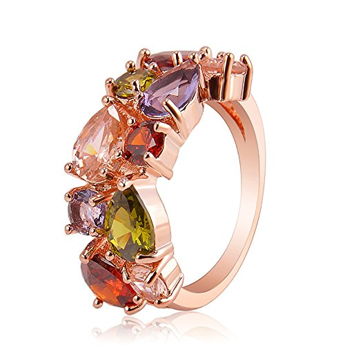 Multi Color Swarovski Crystal Ring - Multicolor Ring Swarovski Elements Crystal Rose Gold Plated Multicolor Flower Cubic Zirconia Jewelry Sets for Women, Gifts for Women (#6, Ring)