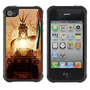 Hybrid Anti-Shock Defend Case for Apple iPhone 4 4S / Inca Aztec God