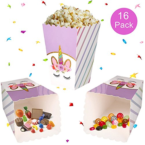 Unicorn Party Supplies Rainbow Treat Boxes for Party Favors, Popcorn, Candies, Snacks, Goodies-Gifts for Birthday Parties, Baby Showers, Weddings – 16 (Parents Take Halloween Candy)