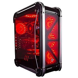 CUK Switch 77 - Gamer VR Ready Desktop (AMD Ryzen 3 2200G, 16GB DDR4, 120GB SSD + 1TB HDD, NVIDIA GTX 1060 3GB, 520W PSU) Best Windows 10 Gaming Computer PC - Black with Customizable Fan Color