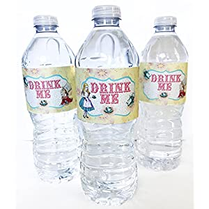 Alice In Wonderland Bottle Wraps - 20 Alice Water Bottle Labels - Made in the USA