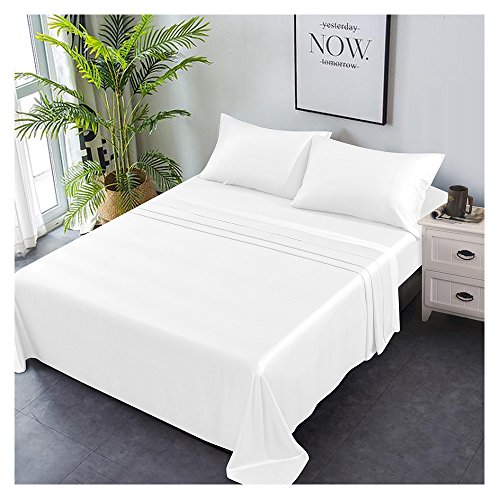 SWEET LINEN 100% Organic Bamboo Sheets - 4 Piece Bed Sheet Set - 1 Flat sheet 1 Fitted Sheet and 2 Pillowcases - Eco- Friendly and Naturally Luxurious Soft Bedding (White, Queen)