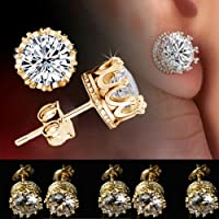 by lucky Gold Plated Stud Crown Round Crystal Earrings 6mm CZ Cubic Zirconia Silver NEWLY