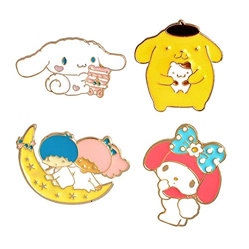 MP28 Cute Cartoon Melody Cinnamoroll Button Brooches Pins in Velvet Bag 4pcs/Set