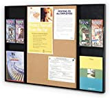 Displays2go Combination Bulletin Board and Litearture Rack for Wall Mount Use, Includes Cork Display Surface and 4 Brochure Pockets with Removable Dividers (ICCB2228)