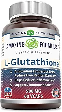 Amazing Formulas Reduced L-Glutathione - 500 Mg, 60 Veggie Capsules - Antioxidant Properties Helps Reduce Free Radical Damage - Helps Reduce Inflammation - Supports Immune Health.