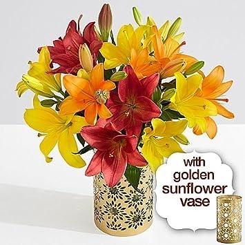 Amazon Royal Autumn Lilies With Golden Sunflower Vase