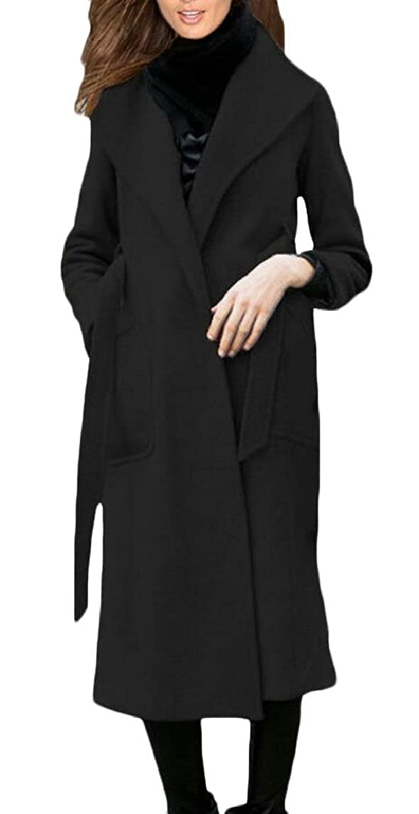 Black ouxiuli Women's Lapel Long Sleeve Single Breasted Wool Blend Long Coat with Belt