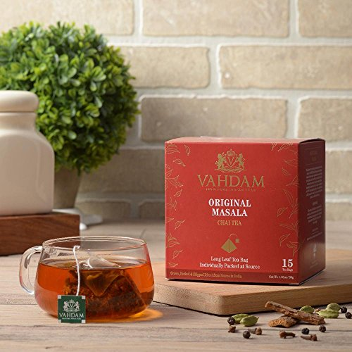 India's Original Masala Chai Tea Bags, 30 TEA BAGS, 100% NATURAL SPICES & NO ADDED FLAVOURING - Blended & Packed in India - Black Tea, Cardamom, Cinnamon, Black Pepper & Clove by VAHDAM (Image #1)