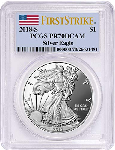 2018 S Silver Eagle 2018-S Proof Silver Eagle PCGS PR70DCAM First Strike Flag Label $1 PR-70 PCGS
