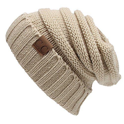 - Winter Hats Women Cap Crochet Knit Thermal Slouchy Beanie Hat / Beige