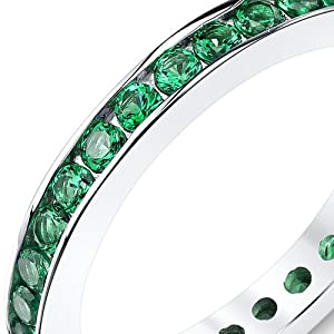 1.50 Carats Simulated Emerald Eternity Ring Sterling Silver Sizes 5 to 9
