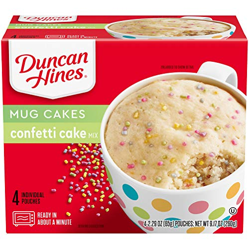 Duncan Hines Perfect Size for 1 Cake Mix, Ready in About a Minute, Confetti Cake, 4 Individual Pouches, 2.29 Ounce (Pack of 4)