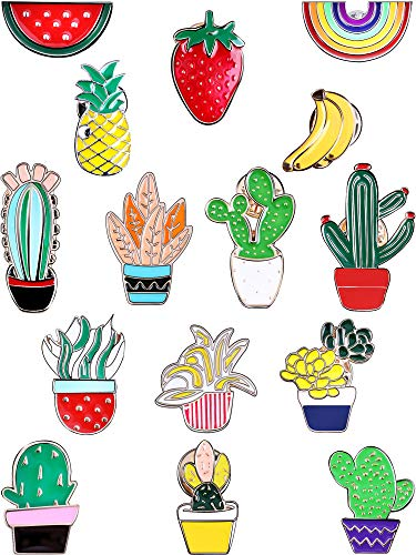 Brooch Fruit Pin (Tatuo 15 Pieces Cartoon Enamel Pins Cute Brooches Plant Fruit Rainbow Lapel Pins for Sweater T-Shirt Dress Bags Backpacks Decor)