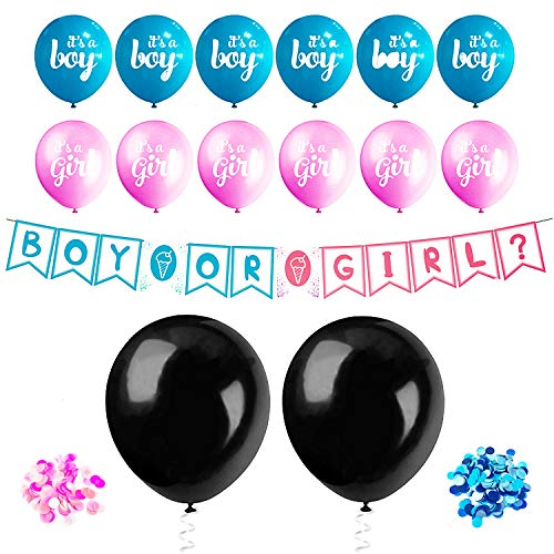 (Gender Reveal Balloons Confetti Decorations Party - 36 inch Black Balloons, Pink Blue Reveal Confetti and Balloons Decor, Boy or Girl Letter Banner Baby Pregnancy Announcement Party, Easy to Set up)