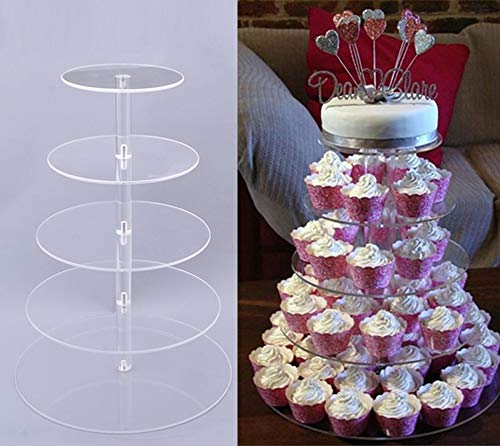 Miageek Clear Round Cake Cupcake Tree Tower Tea Wedding Party Acrylic Cupcake Tower Tall Jumbo-Round Dessert Stands-Cupcake Display Stand (5 Tier Round) by Miageek
