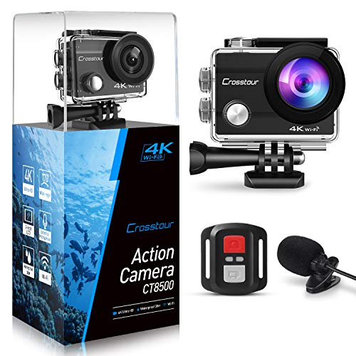 Crosstour 4K 16MP Action Camera Underwater Cam WiFi Remote Control Waterproof with External Microphone EIS Anti-Shaking Time-Lapse and 2 Rechargeable Batteries and Accessories Sets Sports Camera